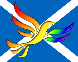 Rainbow Liberal Democrat Bird of Liberty imposed on a Scottish Saltire Flag