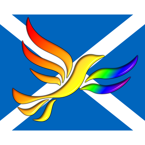 Rainbow Liberal Democrat Bird of Liberty imposed on a Scottish Saltire Flag